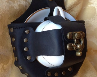 Steampunk Black Leather and Brass Tea Cup Holster Set