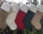 Four Christmas Stockings, Burlap Christmas Stockings, Customize