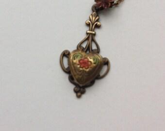 Antique Brass Locket Enamel Necklace