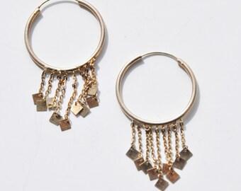 Vintage Sterling Silver Dangle Hoops Earrings