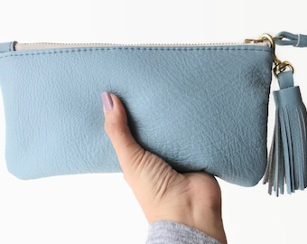 Pastel blue leather pouch, Leather clutch, Leather zip pouch, Zipper wallet, Leather make up bag, Pastel leather bag