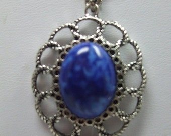 ON SALE 20% OFF Vintage Silver Filigree Arcrylic Blue Cabochon Necklace in Silverplate Setting