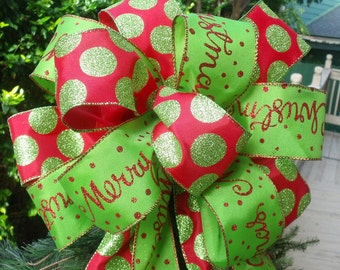 Lime and Red Bow Topper, Christmas Bow, Tree Topper Bow, Wreath Bow, Christmas Topper, Red and Lime Christmas Decoration