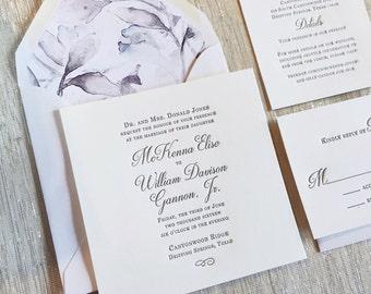 New Classic Letterpress Wedding Invitation Sample