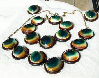 Operculum Shell Necklace Bracelet Earrings Set Tortoise Shell Shiva Eye Vintage 1940's Era