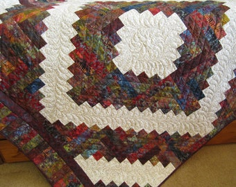 Patchwork Quilt, Homemade Quilt, Lap Quilt, Handmade Quilt, Batik Quilt, Lob Cabin Quilt, Home Decor, Sofa Quilt, Throw Quit
