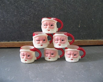 Vintage Santa Mugs Mini, set, 6, six, plastic, candy cups, christmas decorations, 60s