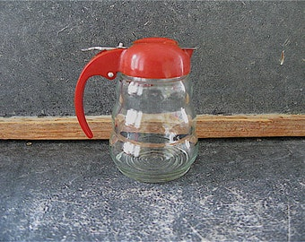 Vintage Syrup Dispenser Pitcher, beehive, bubble, red plastic, kitchen decor, retro, deco