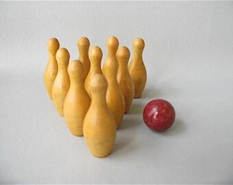 Toy Bowling Game, Mini, wood, 10 pin, wood