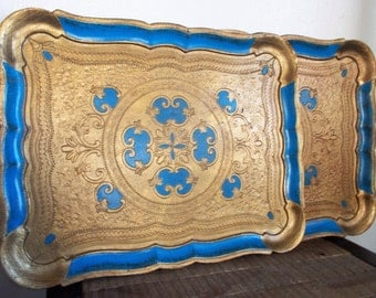 Pair of Large Vintage Italian Florentine Gold and Blue Dresser Trays