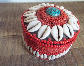 Vintage Red Coral Beaded Cowrie Shell Box with Inlaid Turquoise