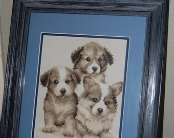"THREE PUPPIES - ""Completed and Framed Cross Stitch"""