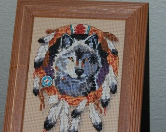 "WOLFE - ""Completed and Framed Cross Stitch"""