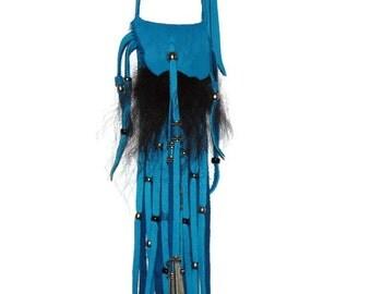 Buffalo fur and leather neck bag medicine bag pouch mountain man pow wow totem