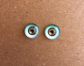 doll Glass eyes flat back 10 mm diameter 6 mm iris MEDIUM BROWN