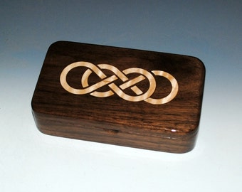"Handmade Wood Walnut ""Oyster"" Box With Laser Inlaid Maple Double Infinity Symbol - Stash Box, Celtic Knot Box, Jewelry Box, Treasure Box"