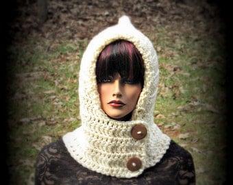 Hood Scarf, Off White Hat, Womens Hat, Hoodie, Cream Hood Hat, Hat Hood, Ivory Cowl, Chunky Hat, Ivory Wrap, Snood, Winter Accessories