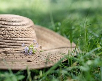 summer daze - hat in grass- relaxing summer day -garden photography-summer photo (5 x 7 Original fine art photography prints) FREE Shipping)