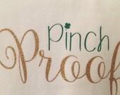 St Patrick's Day onesie, Pinch Proof baby girl onesie, baby girl St Patrick's Day Onesie
