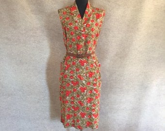 Vintage 60's Sleeveless Dress,  Bright Red Orange, Olive Green and Brown Floral, Mad Men, Women's Size Medium to Large