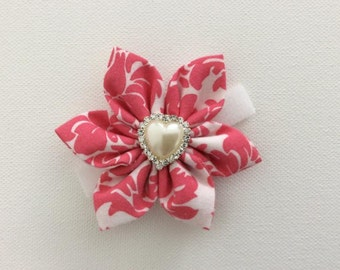 Pink Dog Collar Flower with Rhinestone Center- Ready to Ship