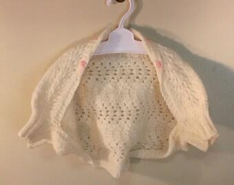 Infant Baby Girl Shrug Bolero Sweater Vintage Handmade Creamy White Pink Flowers
