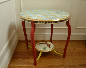 Hand painted table with checks and butterflies
