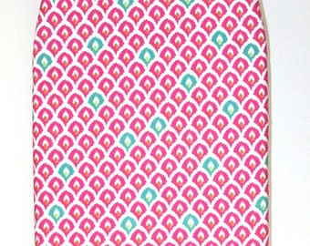 Padded Tabletop Ironing Board Cover - Economy Price - (all in one) Pink and Teal Fabric