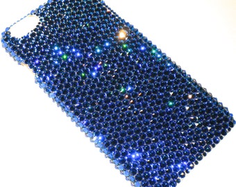For iPhone SE 5 5S - Capri - Teal Ocean Blue - Rhinestone BLING Back Case handmade with 100% Crystals from Swarovski