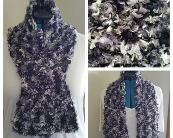 Grey and Black Novelty Yarn Scarf