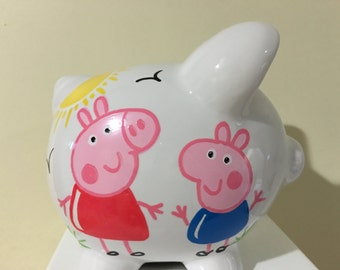 Personalized Small  Peppa.and George  Piggy  Bank-Newborns , Girls , Boys, Birthday Baby Shower Gift Centerpiece