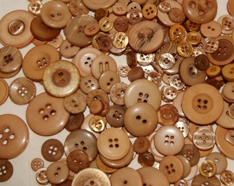 25 Mocha Brown, Taupe Brown, Golden Brown, Tan Button Mix, Sewing Crafting Jewelry Collect (1558)