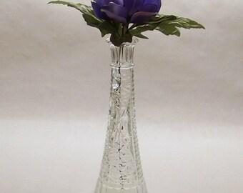 Vintage Anchor Hocking 'Stars & Bars' Vase, 9 Inch Antique Bud Vase, Fluted Edge Pressed Glass Bud Vase