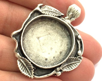 Antique Silver Plated Brass Pendant Blanks  Mountings , (25 mm blank) G5766