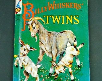 Billy Whiskers' Twins, 1950's Elf Book, Story for Preschoolers, Nice and Bright Retro, Mid-Century Illustrations, Playful Goats