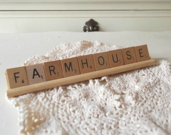 Farmhouse Scrabble Letters Farmhouse Chic Sign Rustic Home Decor Tiles and Rack