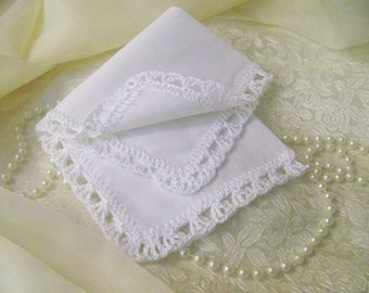 White Lace Handkerchief, Hanky, Hand Crochet, Lacy, Personalized, Monogrammed, Embroidered, Ladies, Baptism, First Communion, Bridal