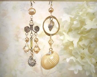 Waterborne - Asymmetrical Mermaid Earrings Beach Jewelry Festival Earrings Seashell Tribal Earrings Beach Wedding Champagne Crystal Earrings
