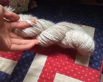 Hand Spun Pure Angora Yarn 126 yards Peach yarn