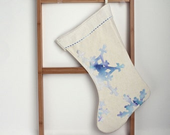 Christmas stocking, READY TO SHIP blue snowflakes christmas stocking, organic, holiday decor natural Eco friendly 6