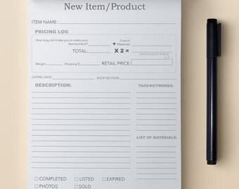 New Product worksheet & Pricing Log Notepad
