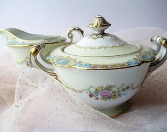 Cream and Sugar Set Noritake Marvelle Blue Floral - Vintage Charm