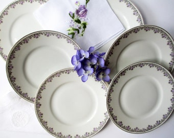Vintage Purple Rose Paul Muller Bavarian Bread and Butter Plates Set of Six