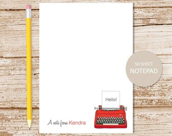 personalized typewriter notepad . typewriter note pad . vintage typewriter notepad . personalized stationery . stationary