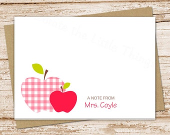 apple personalized note cards . notecards set . teacher stationery . folded stationary cards . teacher gift . set of 8