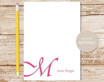 initial personalized notepad . cursive initial notepad . monogram note pad . personalized stationery initial stationary