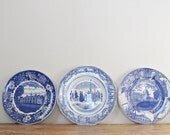 Vintage Blue and White Plate Lot of 3 Mismatched Staffordshire Colonial