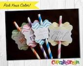 Paper Straws, Birthday Drinking Straw Tags