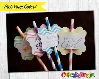 Paper Straws, Birthday Drinking Straw Tags