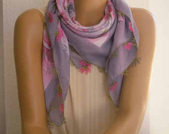 gray and pink scarf, turkish oya